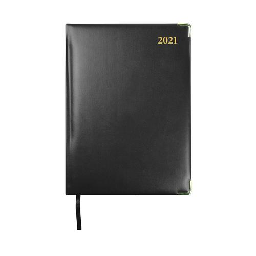 Collins 2021 Classic Manager Diary Day to Page Sewn Binding 190x260mm Black Ref 1200V 2021