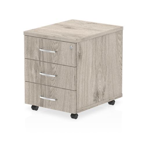 Trexus 3 Drawer Mobile Pedestal 430x500x510mm Grey Oak Ref I003224