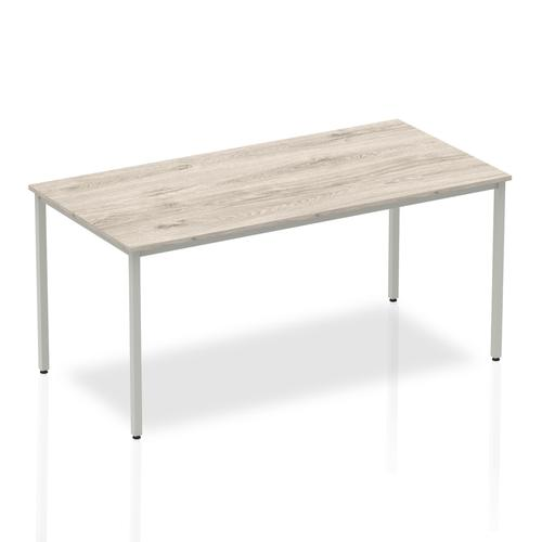 Trexus Rectangular Box Frame Silver Leg Table 1600x800mm Grey Oak Ref I003261