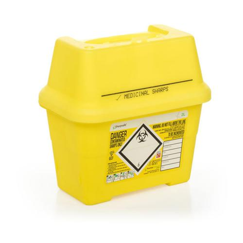 Click Medical Sharps Temporary & Final Closure Feature 2L Yellow Ref CM0643 *Up to 3 Day Leadtime*