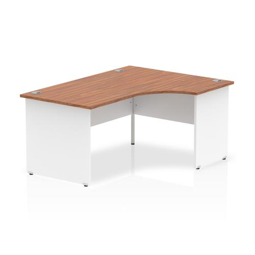 Trexus Desk Radial Right Hand Panel End 1600x800mm Walnut Top White Panels Ref TT000037