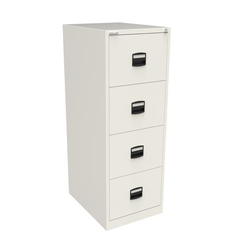Trexus 4 Drawer Filing Cabinet 470x622x1321mm Chalk White Ref CC4H1A-ab9