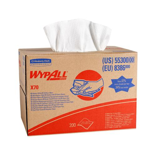 Wypall X70 Cleaning Cloth Brag Box 1 Ply Sheet 427x318mm Ref 8386 [Pack 200]