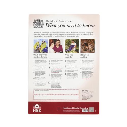 Health and Safety Law Poster PVC W297xH420mm A3