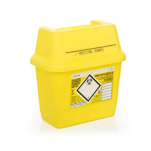 Click Medical Sharps Bin Temporary & Final Closure Feature 3L Yellow Ref CM0644 *Up to 3 Day Leadtime*