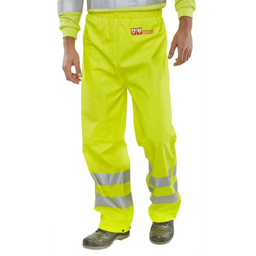 BSeen Trousers Fire Retardant Anti-static Hi-Vis L Sat Yellow Ref CFRLR52SYL *Up to 3 Day Leadtime*