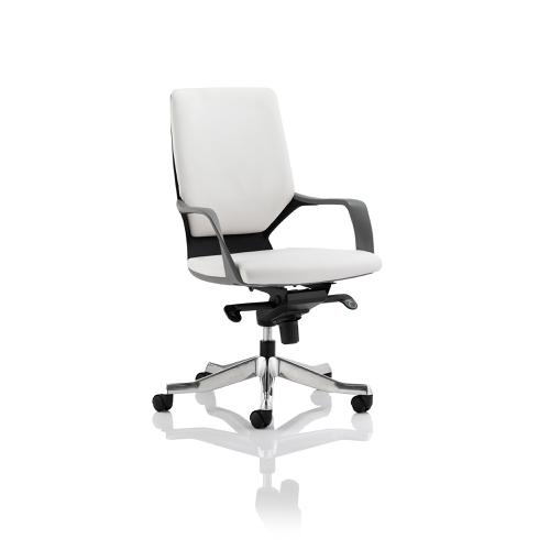 Adroit Xenon Executive With Arms Medium Back Black Shell Leather White Ref EX000088