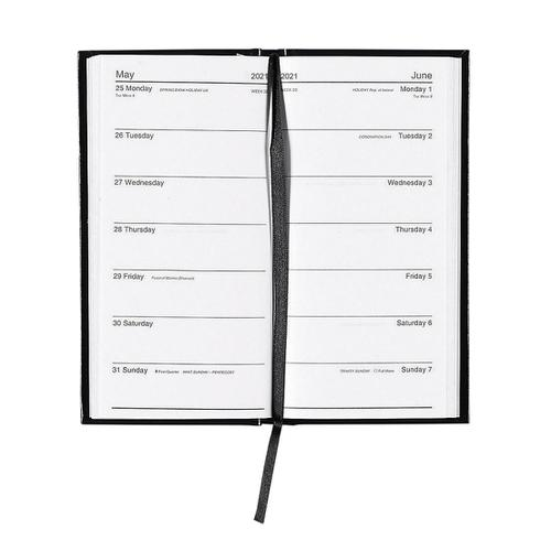 5 Star Office 2021 Slim Portrait Pocket Diary Two Weeks to View Casebound Sewn 80x160mm Black Ref 142942