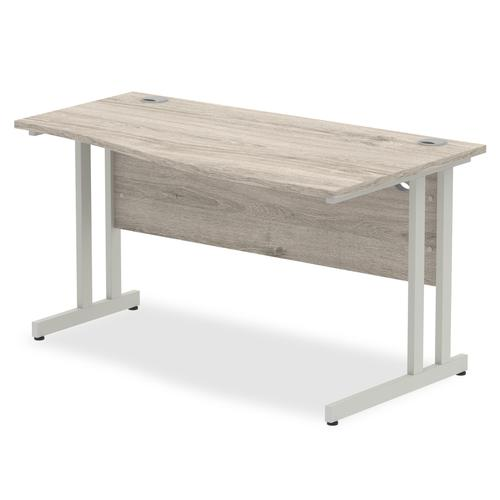 Trexus Wave Desk Right Hand Silver Cantilever Leg 1400mm Grey Oak Ref I003119