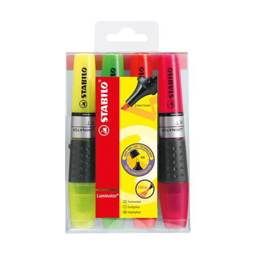 Stabilo Luminator Highlighters Chisel Tip 2-5mm Wallet Assorted Ref 71/4 [Pack 4]