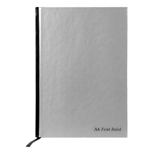 Pukka Pad Notebook Casebound Hardback 90gsm Ruled Margin 192pp A4 Silver Ref RULA4 [Pack 5]