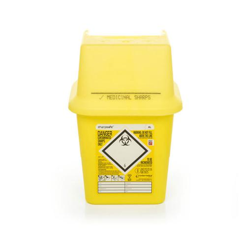 Click Medical Sharps Bin Temporary & Final Closure Feature 4L Yellow Ref CM0645 *Up to 3 Day Leadtime*