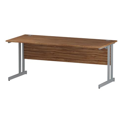 Trexus Rectangular Slim Desk Silver Cantilever Leg 1800x600mm Walnut Ref I001913