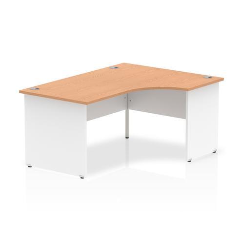 Trexus Desk Radial Right Hand Panel End 1600x800mm Oak Top White Panels Ref TT000041