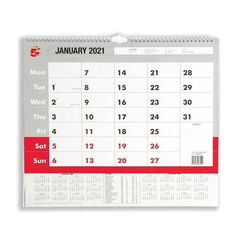5 Star Office 2021 Wall Calendar Month to View Wirebound 135gsm Paper A3 297x420mm White/Red
