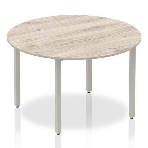 Trexus Circular Box Frame Silver Leg Table 1200mm Grey Oak Ref I003258