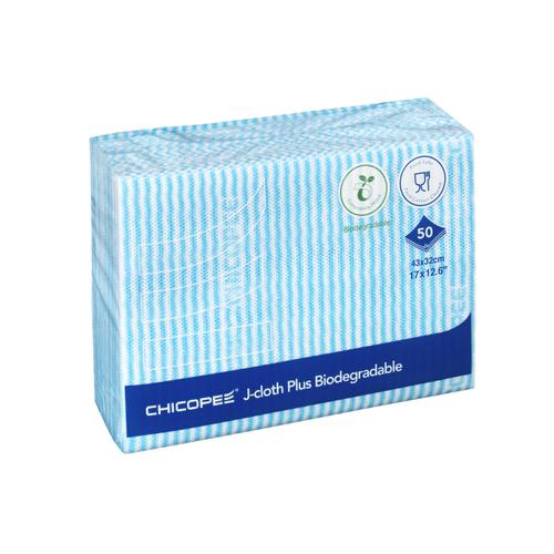 Chicopee J-Cloth Plus Biodegradable 430x320mm Blue Ref 0707117 [Pack 50]