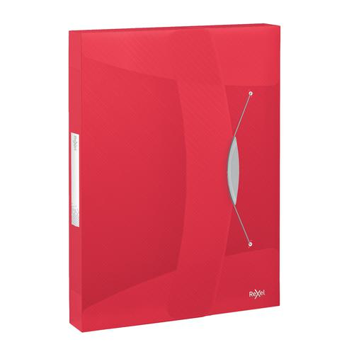 Rexel Choices Box File PP Elastic Strap 40mm Spine A4 Trans Red Ref 2115668