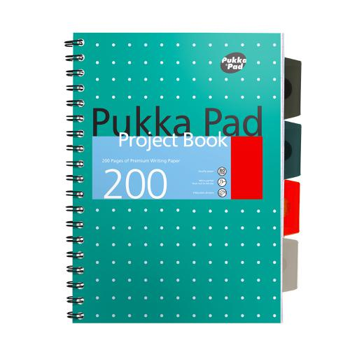 Pukka Metallic Project Book B5 80gsm Green Ref 8518-MET [Pack 3]