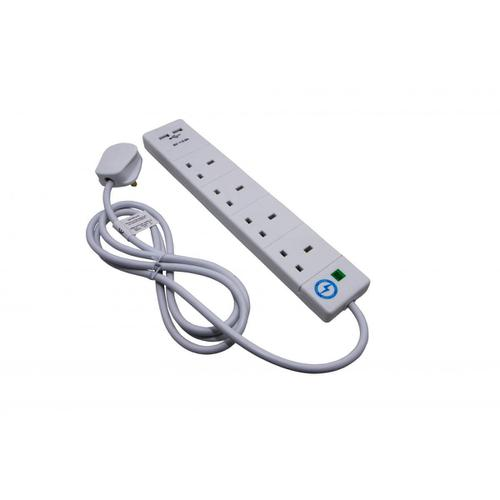 SMJ Extension Lead 2-metre 4 Sockets 2 USB Charging Points Power Surge Indicator W170xD50xH405mm White