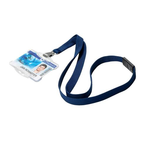 Durable Soft Textile Lanyard 15mmx440mm with 12mm Metal Snap Hook Midnight Blue Ref 812728 [Pack 10]