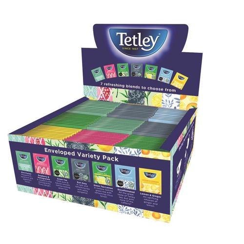 Tetley Individually Enveloped Tea Bags Variety Box String & Tag 7 Mixed Flavours Ref 1504A [90 Bags]