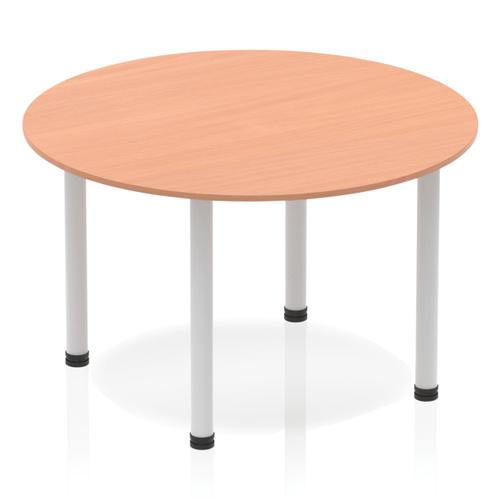Sonix Circular Silver Post Leg Table 1200mm Beech Ref BF00202