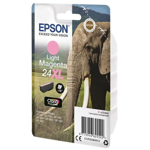 Epson 24XL Inkjet Cartridge Elephant High Yield 740pp 9.8ml Light Magenta Ref C13T24364012