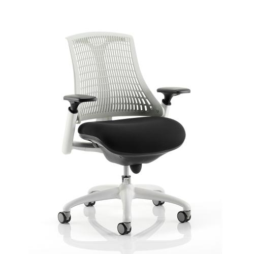 Trexus Flex Task Operator Chair With Arms Black Fabric Seat Moonstone White Back White Frame Ref KC0056