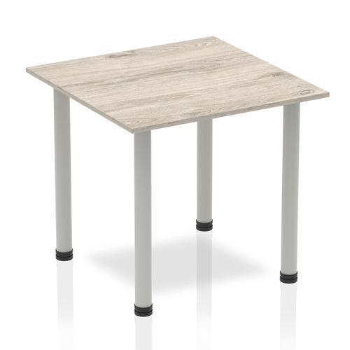 Sonix Square Silver Post Leg Table 800x800mm Grey Oak Ref