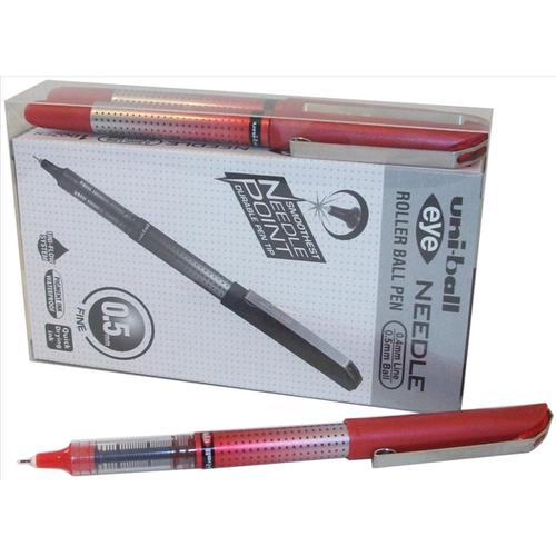 Uni-ball UB-185S Eye Needle Rollerball Pen 0.5mm Tip Red Ref 125955000 [Pack 12]