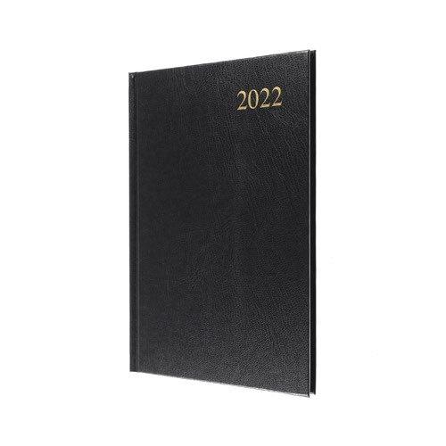 5 Star Office 2022 Diary Week to View Casebound and Sewn Vinyl Coated Board A5 210x148mm Black