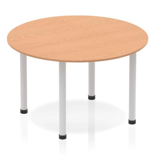 Sonix Circular Silver Post Leg Table 1200mm Oak Ref BF00206