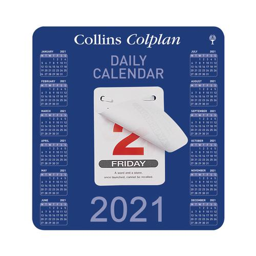 Collins Colplan 2021 Daily Block Calendar 12 Month Daily Tear-off 165x175mm White/Blue Ref CDBC 2021