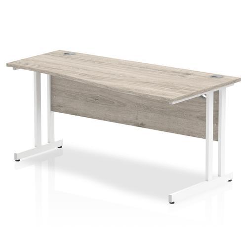 Trexus Wave Desk Right Hand White Cantilever Leg 1600mm Grey Oak Ref I003117