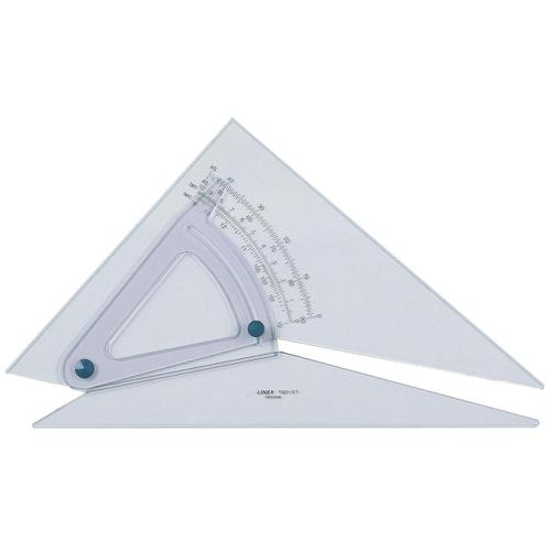 Linex Adjustable Set Square Precision 0.5 Degree Scale Bevelled Edge 250x320mm Clear Ref LXB1120/10B