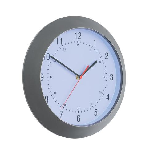 5 Star Facilities Wall Clock with Coloured Case Diameter 300mm Dark Grey by The OT Group, 146867
