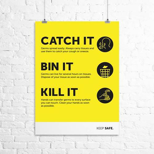 Catch it Bin it Kill it A3 Poster 297mm x 420mm 160 Micron Polypropylene