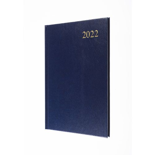 5 Star Office 2022 Diary Week to View Casebound and Sewn Vinyl Coated Board A5 210x148mm Blue