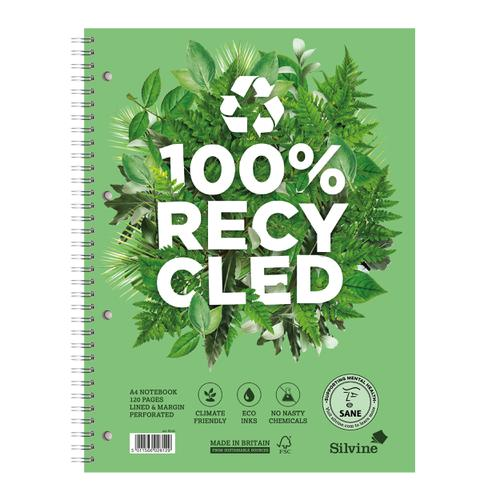 Silvine Premium Recycled Nbk Wirebnd 80gsm Ruled Margin Perf Punched 4 Holes 120pp A4+ Ref R102 [Pack 5]