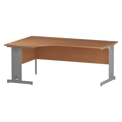 Trexus Radial Desk Left Hand Silver Cable Managed Leg 1800/1200mm Beech Ref I000474