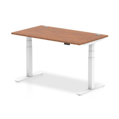 Trexus Sit Stand Desk With Cable Ports White Legs 1400x800mm Walnut Ref HA01106