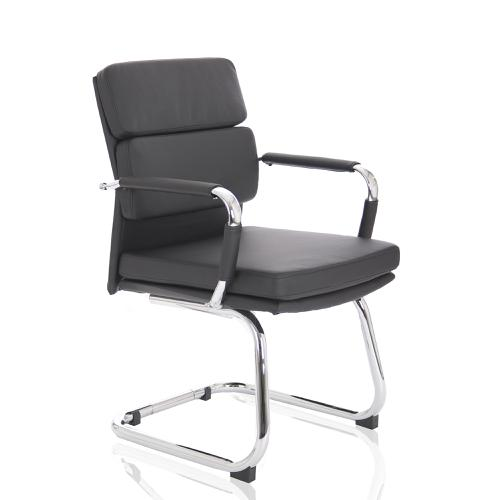 Adroit Advocate Visitor Chair With Arms Bonded Leather Black Ref BR000206