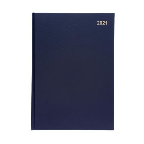 5 Star Office 2021 Diary Day to Page Casebound and Sewn Vinyl Coated Board A4 297x210mm Blue
