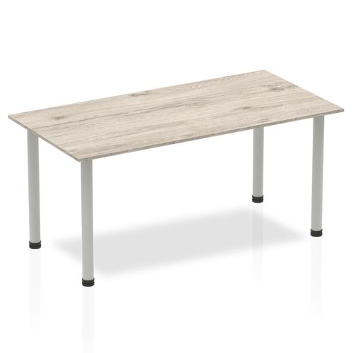 Sonix Square Silver Post Leg Table 1600x800mm Grey Oak Ref