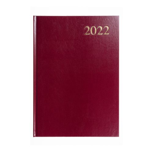 5 Star Office 2022 Diary Week to View Casebound and Sewn Vinyl Coated Board A5 210x148mm Red