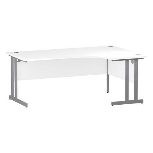 Trexus Radial Desk Right Hand Silver Cantilever Leg 1800mm White Ref I000324
