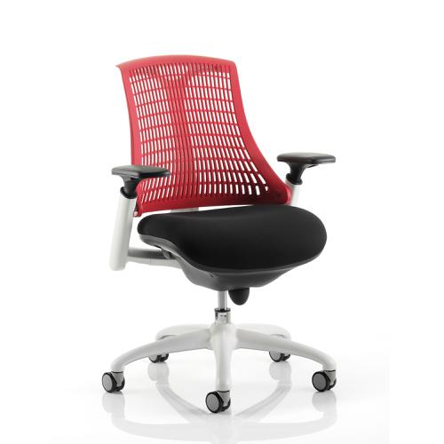 Trexus Flex Task Operator Chair With Arms And Headrest Black Fabric Seat Red Back White Frame Ref KC0089