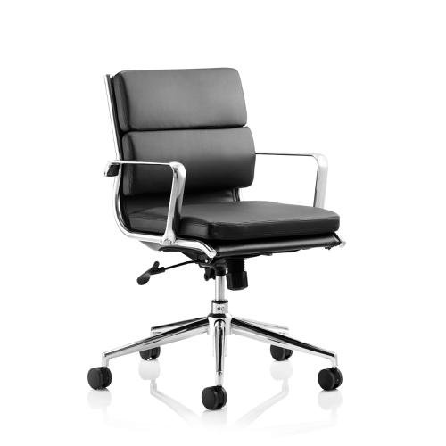 Sonix Savoy Executive Medium Back Chair With Arms Bonded Leather Black Ref EX000069