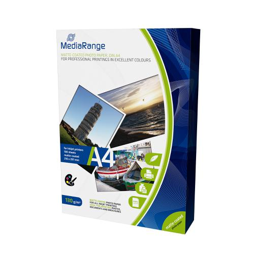 MediaRange InkJet Photo Paper A4 Matt 130gsm Ref MRINK101 [100 Sheets]